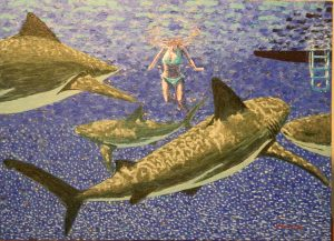 girl with sharks 2016 acrylic 19.5X26.75 in.jpg
